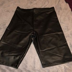 Faux leather biking shorts